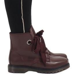 Kayla Shoes Bordowe sznurowane botki PF276 czerwone