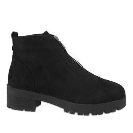 Kayla Shoes Czarne botki na obcasie z suwakiem 2017-3