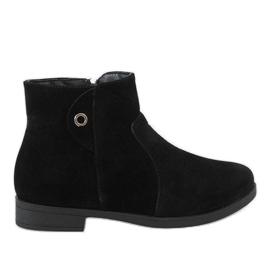 Kayla Shoes Czarne ocieplane botki 885