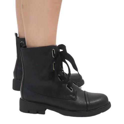 Kayla Shoes Czarne sznurowane botki S161