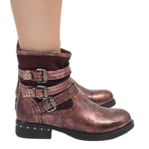 Kayla Shoes Bordowe ocieplane botki S109 czerwone