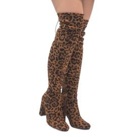 Leopard kozaki na słupku za kolano E5116