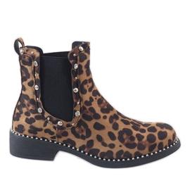 Leopard botki ocieplane z ćwiekami HQ921