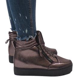 Brązowe sneakersy ocieplane BB-1652