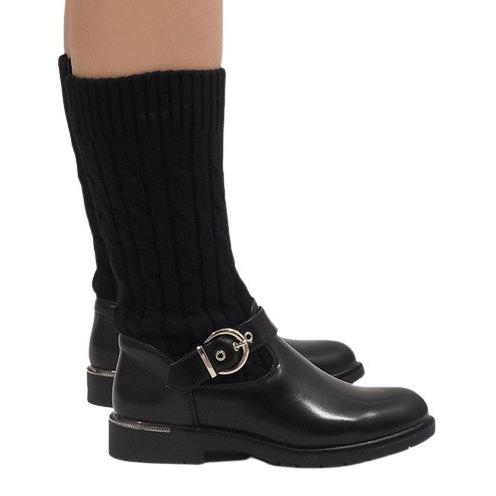Ideal Shoes Czarne botki ocieplane E-4939