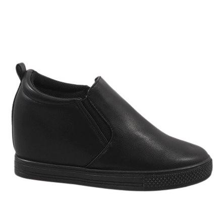 Czarne sneakersy na koturnie DD384-1
