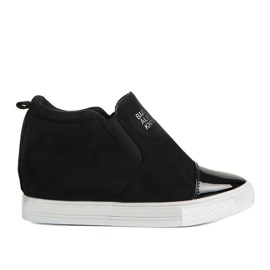 Czarne sneakersy na koturnie DD394-4