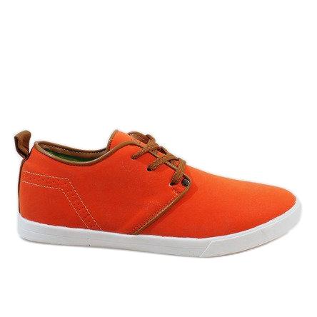 Pomarańczowe sznurowane trampki męskie M-021