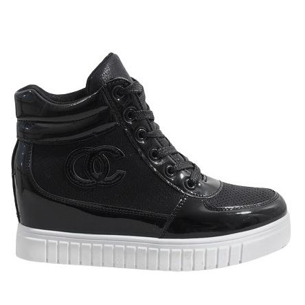 Czarne sneakersy na koturnie NB83P
