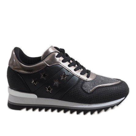 Czarne sneakersy na koturnie G-127