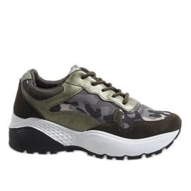 Zielone modne obuwie sportowe moro LT013
