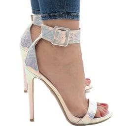 Srebrne sandały szpilki opalizujące L1543 szare