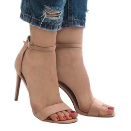 Różowe sandały na szpilce zamsz SY-31P