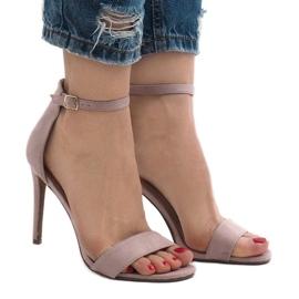 Fioletowe sandały na szpilce zamsz SY-31P