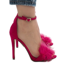 Różowe sandały na szpilce zamsz NF-19P