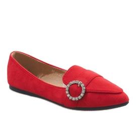 Czerwone mokasyny balerinki DY-01