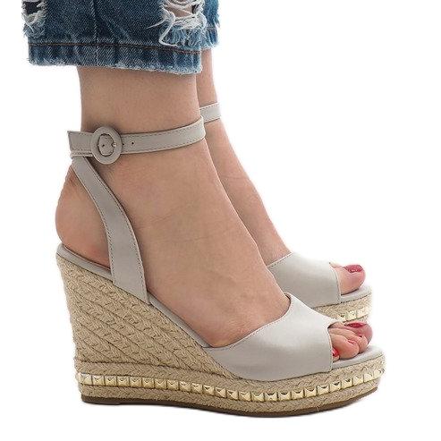Szare sandały koturny 2084-5