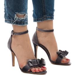 Szare zamszowe sandały szpilki kokardka LB-291