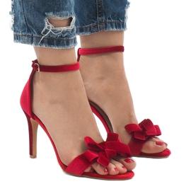 Czerwone zamszowe sandały szpilki kokardka LB-291