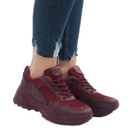 Bordowe obuwie sportowe sneakersy BY-080
