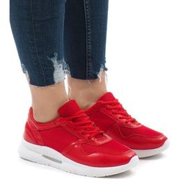 Czerwone modne obuwie sportowe LS180406