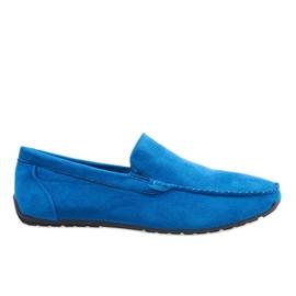 Granatowe eleganckie półbuty mokasyny AB07-6 niebieskie