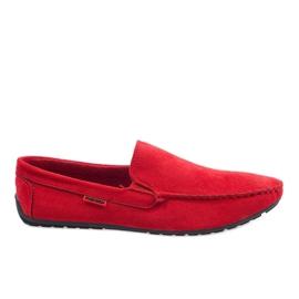 Czerwone eleganckie półbuty mokasyny AB96K-2