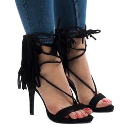 Czarne sandały na szpilce zamsz boho 8125-1