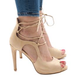 Brązowe Beżowe sandały na szpilce zamsz JL-01