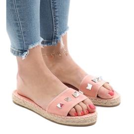 Różowe klapki jeans ćwieki 7087