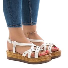 Białe sandały espadryle na platformie 314-2B