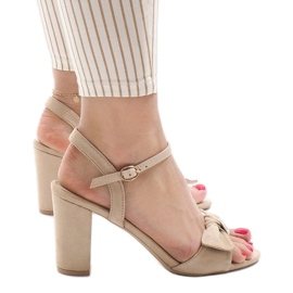 Brązowe Beżowe sandały na obcasie Gh 1508