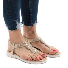 Żółte Złote sandały ozdabiane S11