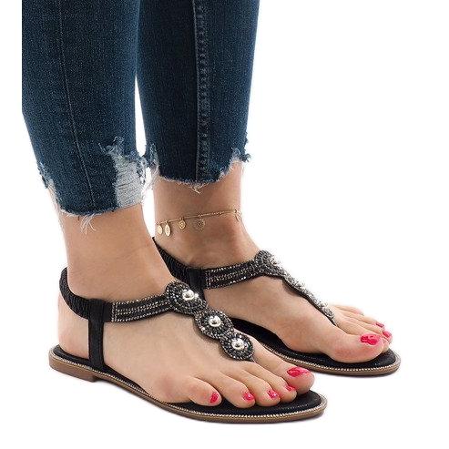 Czarne japonki gumka zdobione sandały ST3107Y
