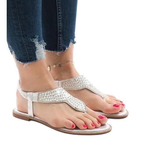Srebrne sandały japonki zdobione JN1359-2 szare