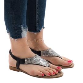 Czarne sandały japonki zdobione JN1359-2
