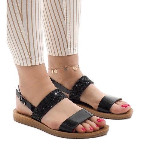 Czarne sandały z cekinami G-515-01