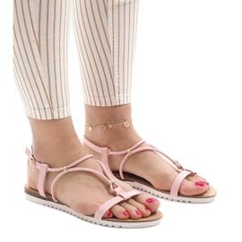 Różowe płaskie sandały z klamerką B138-5