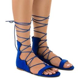 Niebieskie płaskie sandały wiązane 289-16