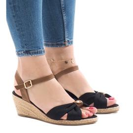 Czarne sandały na koturnie espadryle 1484-1