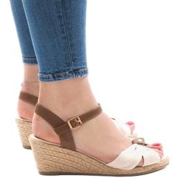 Brązowe Beżowe sandały na koturnie espadryle 1484-1