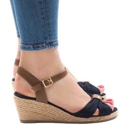 Granatowe sandały na koturnie espadryle 1484-13