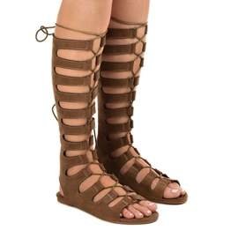 Brązowe płaskie sandały gladiatorki 289-9