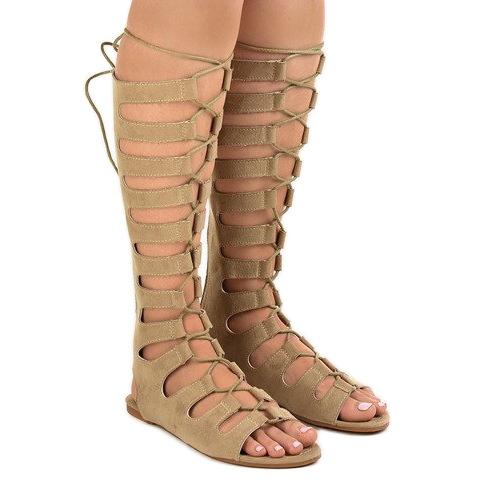 Beżowe płaskie sandały gladiatorki 289-9 brązowe