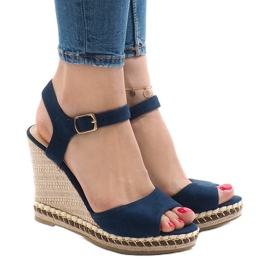 Granatowe zamszowe sandały na koturnie LM-8006