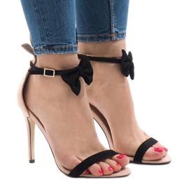Różowe zamszowe sandałki szpilki kokardka JZ-6334