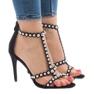 Czarne sandały na szpilce z ćwiekami 8296-Y