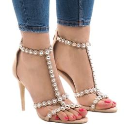 Brązowe Beżowe sandały na szpilce z ćwiekami 8296-Y