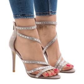 Brązowe Szare sandały na szpilce 9081-9