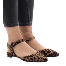 Leopard print sandały balerinki 77-100